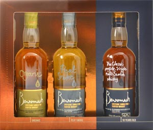Benromach 3 Bottle Gift Sampler Pack Containing 1 year old Peat Smoke and Organic