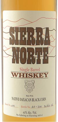 Sierra Norte Single Barrel Whiskey made with Native Oaxacan Black Corn